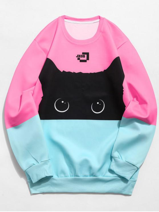 Sudadera Estampada Color Gato - Rosado L
