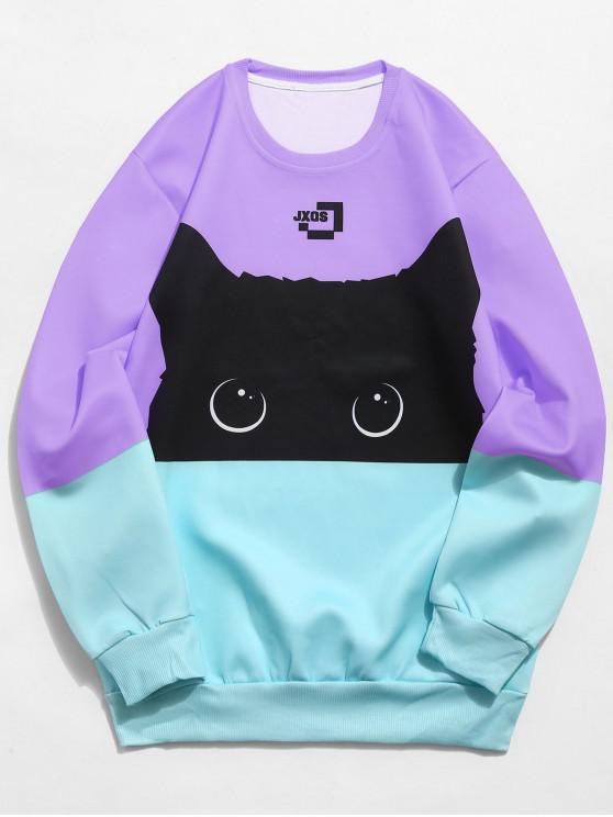 hot Color Block Cat Print Sweatshirt - MEDIUM PURPLE M