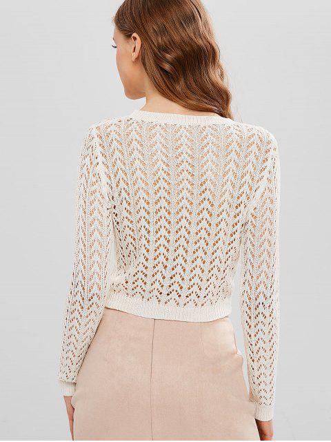 best ZAFUL Crochet Open Knit Sweater - MILK WHITE L Mobile