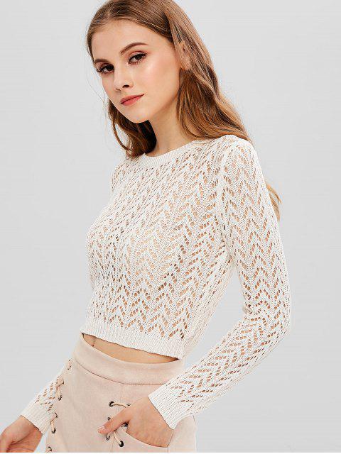 ZAFULかぎ針編みのオープンニットセーター - ミルクホワイト S Mobile