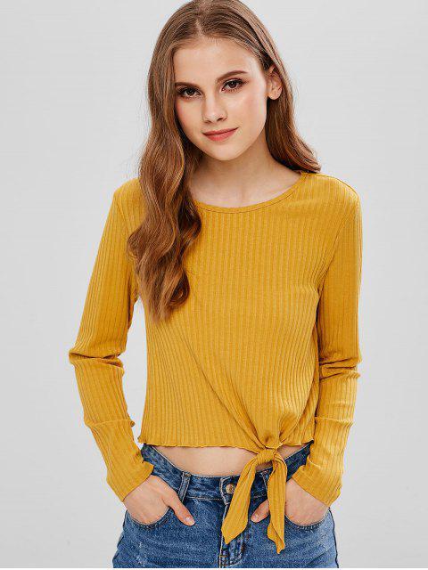 fashion ZAFUL Knot Long Sleeve Knit Tee - BEE YELLOW XL Mobile