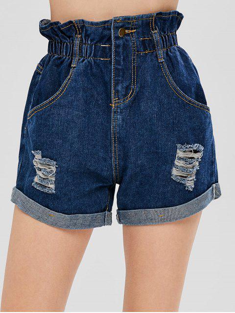 womens Ripped Denim Cuffed Shorts - DENIM DARK BLUE S Mobile