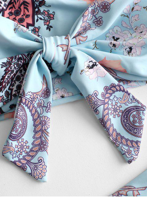 latest ZAFUL Paisley Print Knot Bikini Set - JEANS BLUE L Mobile