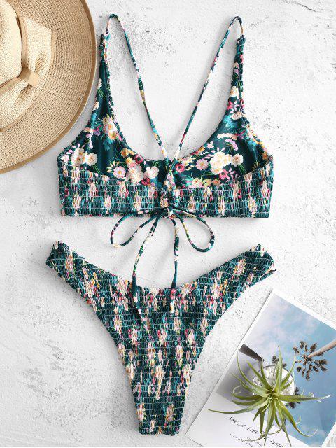 outfits ZAFUL Flower Smocked Bralette Bikini Set - MULTI-A S Mobile