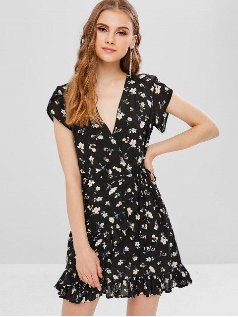 women's Plunging Neck Floral Ruffles Dress - BLACK L Mobile