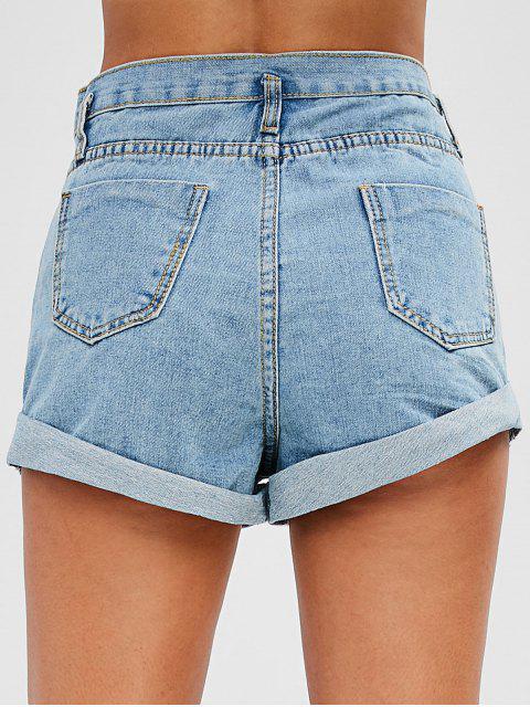 Pantalones Cortos De Mezclilla De Cintura Alta - Azul Denim S Mobile