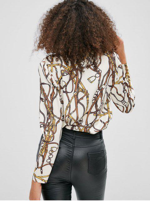 shops Chain Print Plunging Bodysuit - CRYSTAL CREAM L Mobile