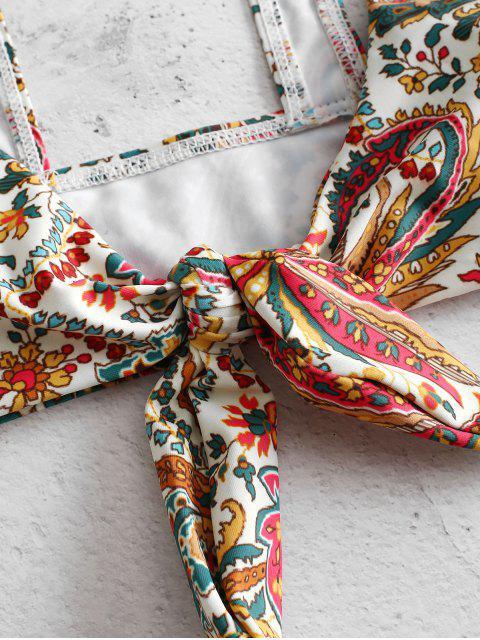 unique ZAFUL Bohemian Flower Tied Bikini Set - MULTI-A S Mobile