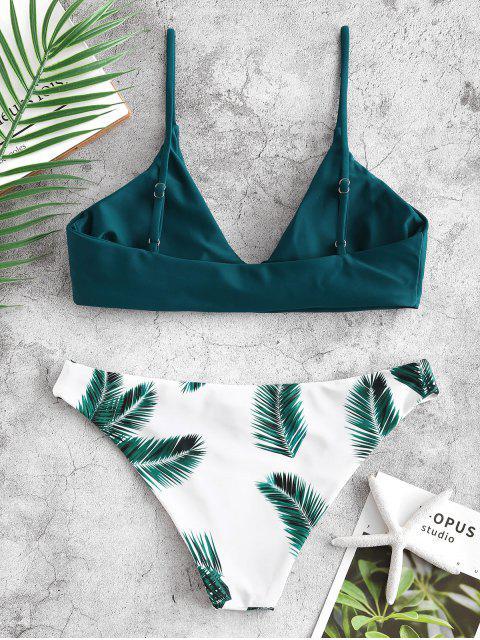 fancy ZAFUL Floral Leaf Print Bikini Set - PEACOCK BLUE S Mobile