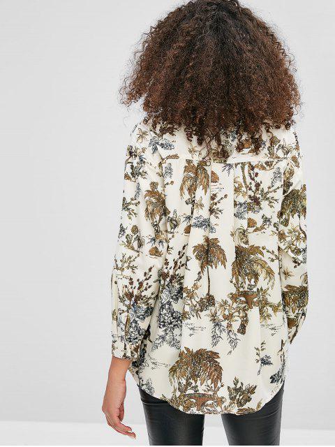 Camisa larga con estampado de pájaros del árbol - Multicolor M Mobile