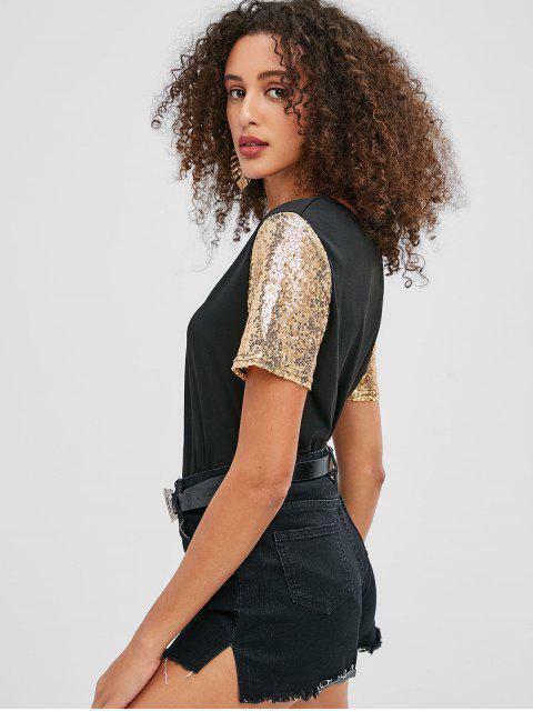 unique Sequin Sleeves T-shirt - BLACK S Mobile