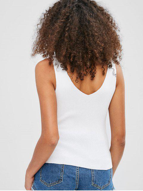 womens V Neck Knitted Fitted Tank Top - WHITE ONE SIZE Mobile