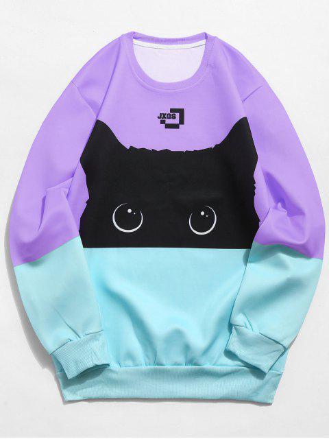 outfit Color Block Cat Print Sweatshirt - MEDIUM PURPLE L Mobile