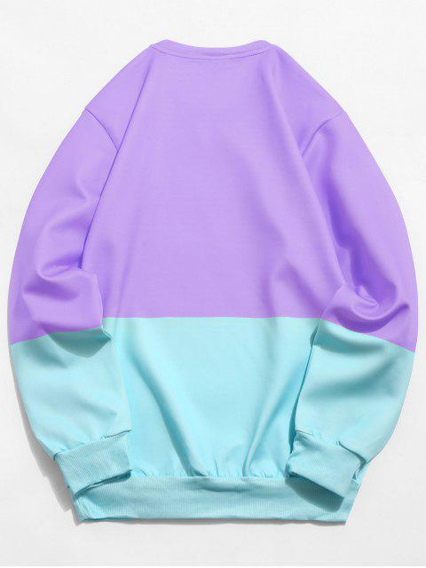 online Color Block Cat Print Sweatshirt - MEDIUM PURPLE XS Mobile