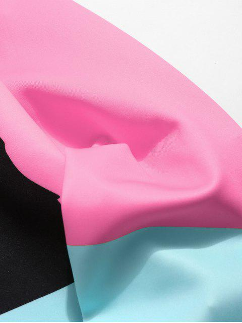 best Color Block Cat Print Sweatshirt - PINK XL Mobile