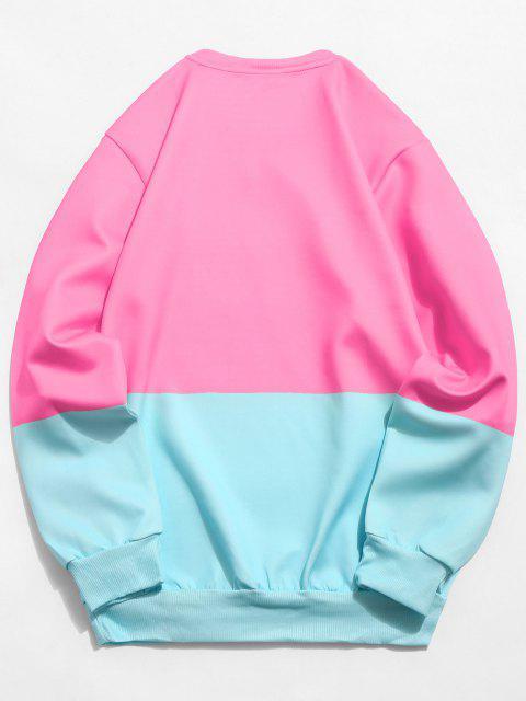 ladies Color Block Cat Print Sweatshirt - PINK M Mobile