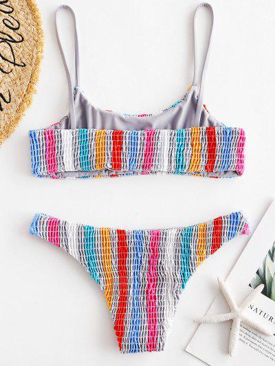 ZAFUL Colorful Striped Smocked Bikini Set, Multi-a
