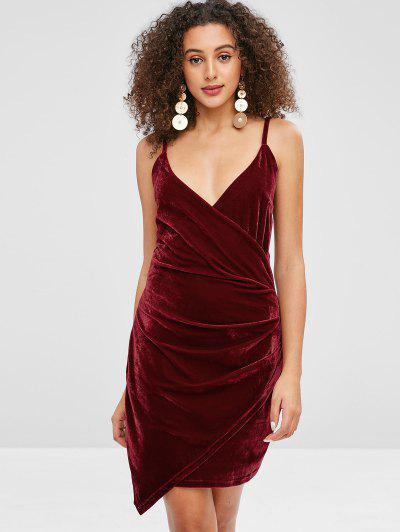 3eca811898b Velvet Cami Draped Dress - Red Wine L
