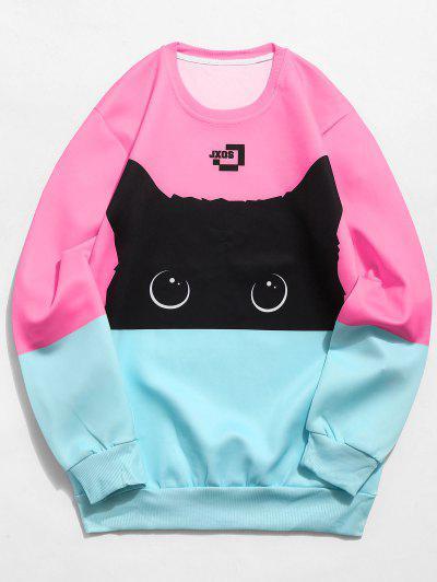Color Block Cat Print Sweatshirt - Pink L