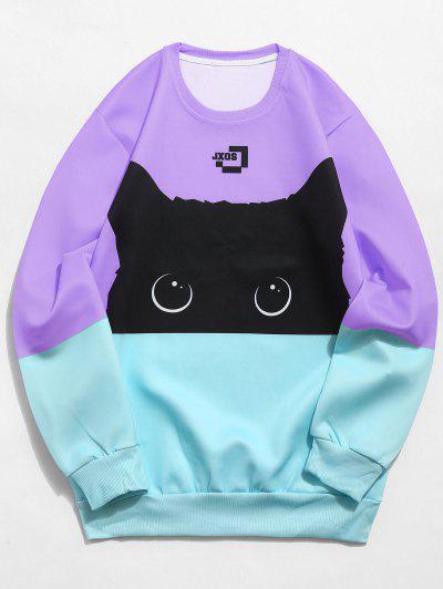 Color Block Cat Print Sweatshirt - Medium Purple Xs