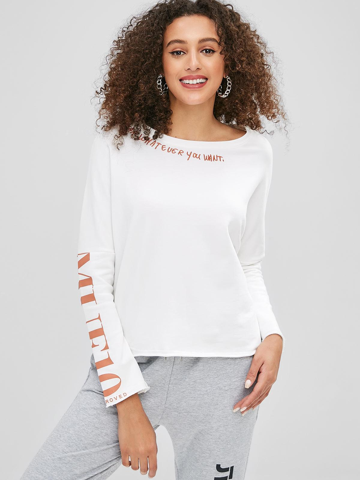 Raw Hem Letter Embroidery Sweatshirt