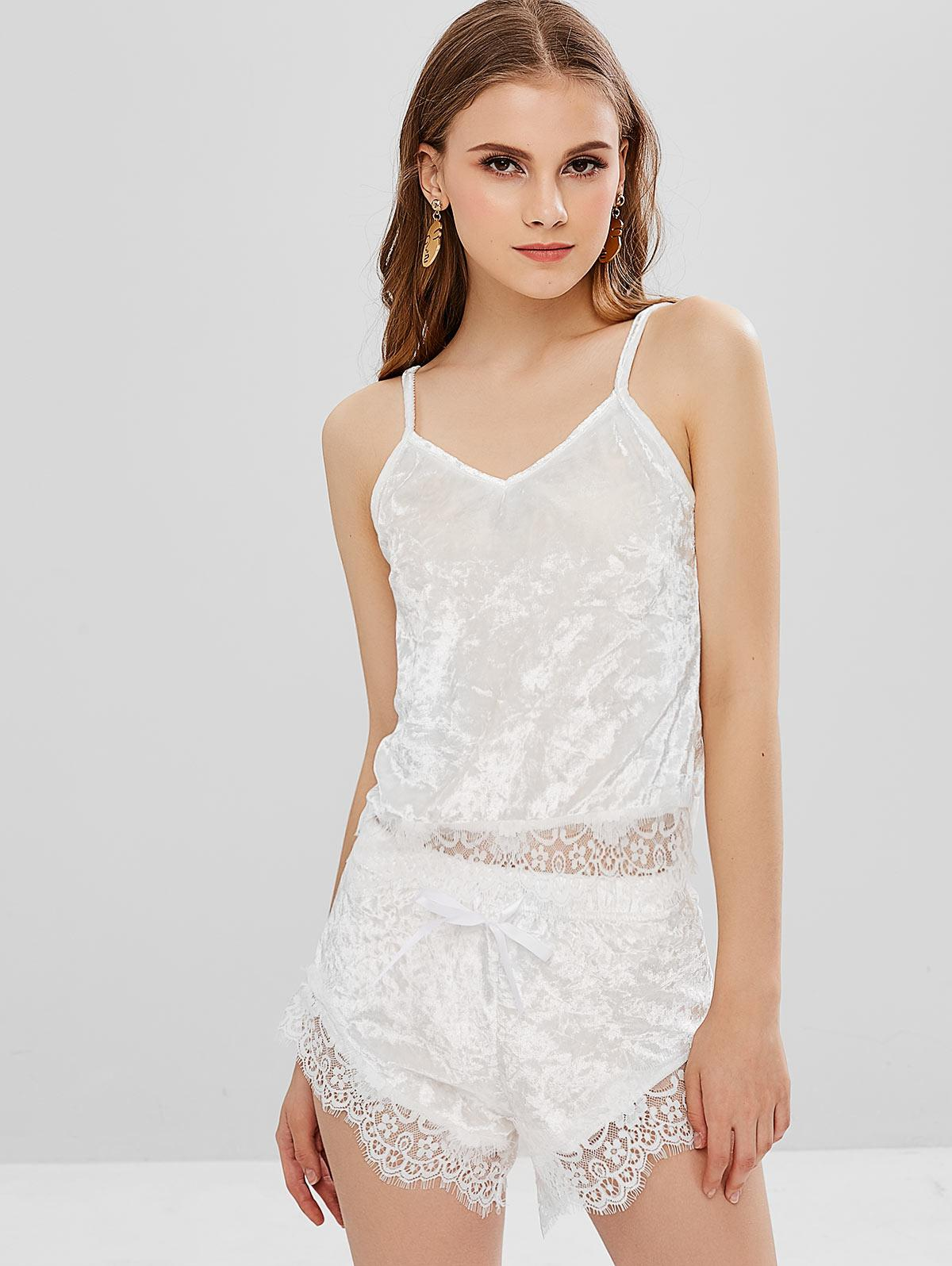 Lace Velvet Cami Top and Shorts Two Piece Set