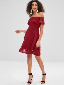 c63bdd2b1fd6 42% OFF  2019 Lace Flounce Off Shoulder Dress In RED