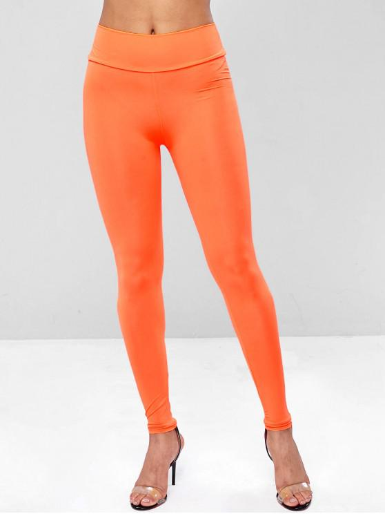 best Neon Plain High Waisted Leggings - ORANGE M