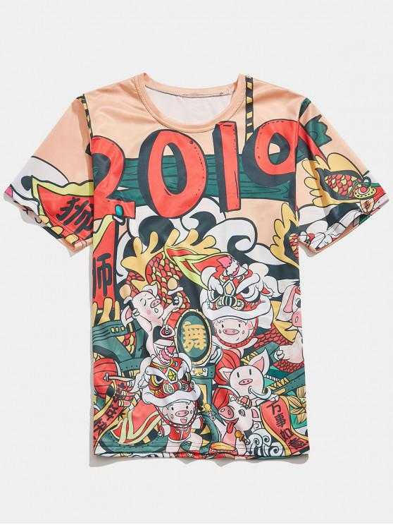 womens Pigs Print Spring Festival T-shirt - MULTI-D 2XL