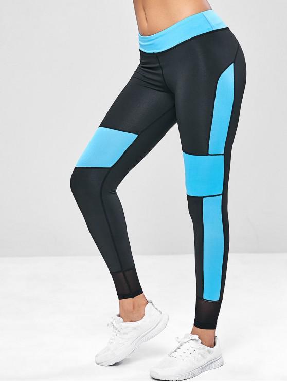 women's Two Tone Mesh Panel Yoga Leggings - DODGER BLUE M