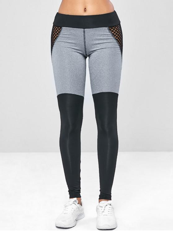 shops Two Tone Mesh Yoga Gym Leggings - BLACK M