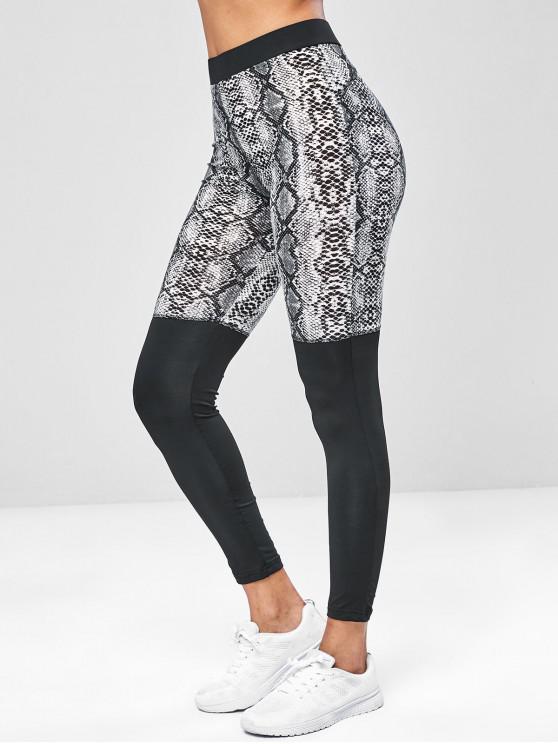 best Snake Print High Rise Yoga Gym Leggings - MULTI S