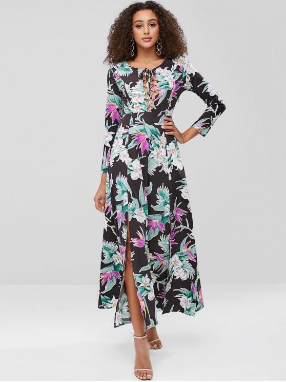 womens ZAFUL Print Lace-up Maxi Slit Dress - MULTI L