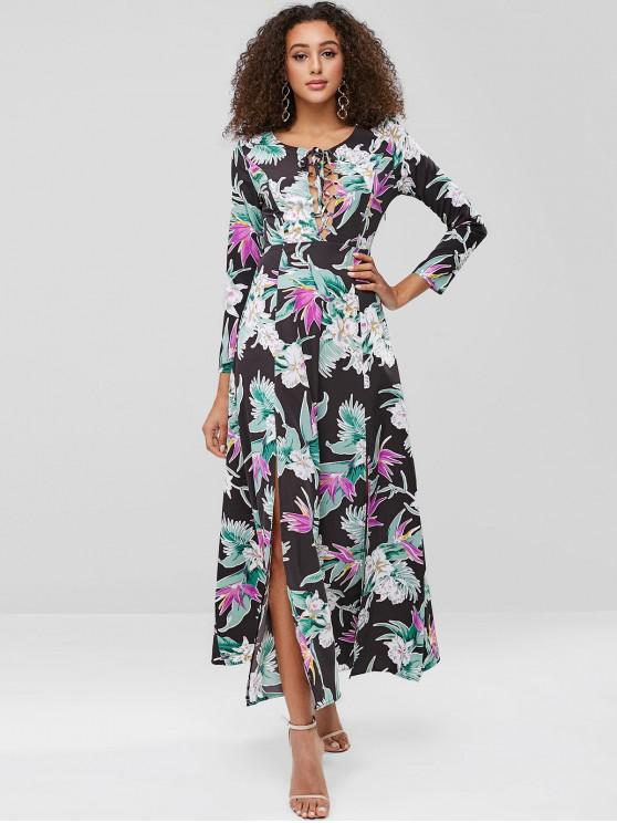 women ZAFUL Print Lace-up Maxi Slit Dress - MULTI S