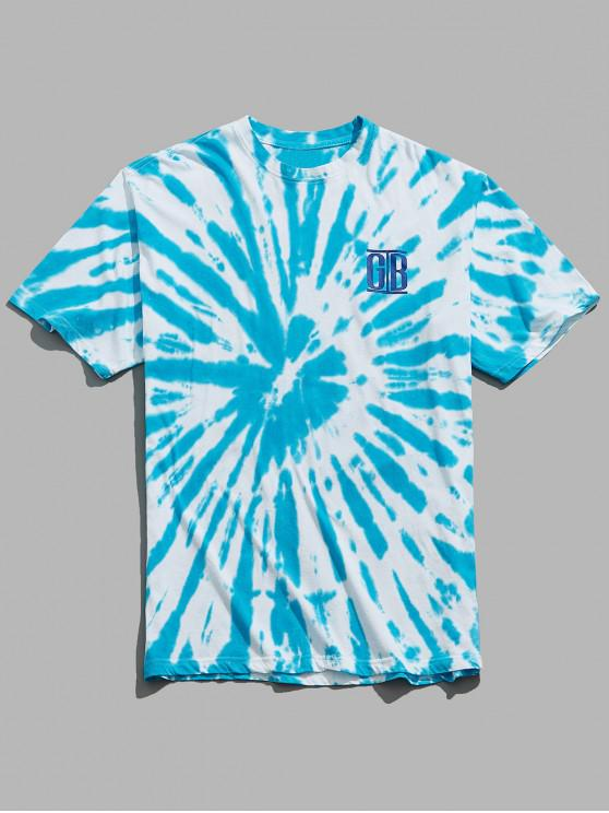 womens Letters Print Tie Dye Casual T-shirt - DEEP SKY BLUE M