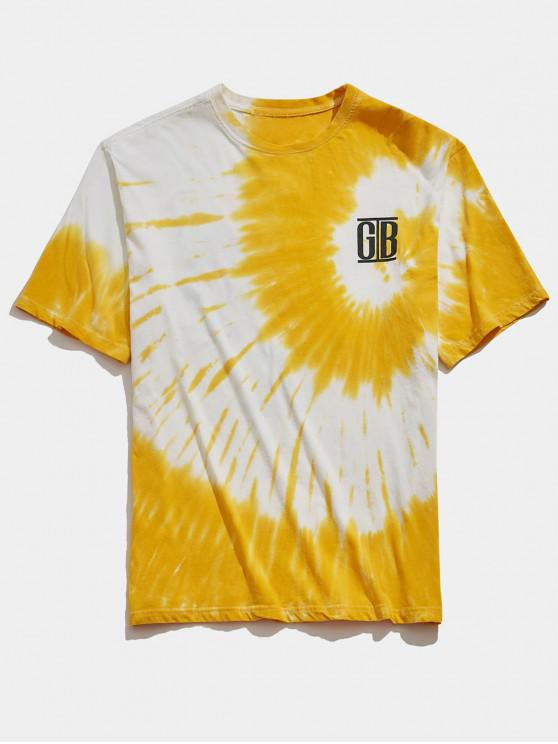 hot Tie Dye Gesture Letters Print Casual T-shirt - GOLDENROD L