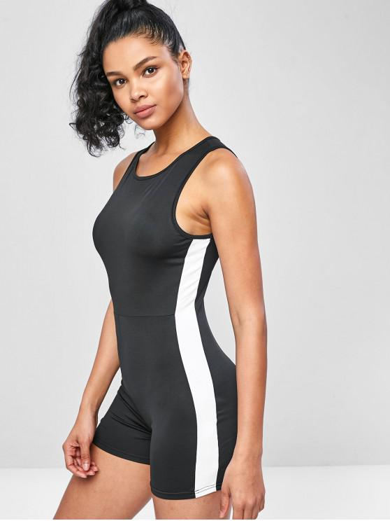 affordable Sleeveless Two Tone Sporty Romper - BLACK M