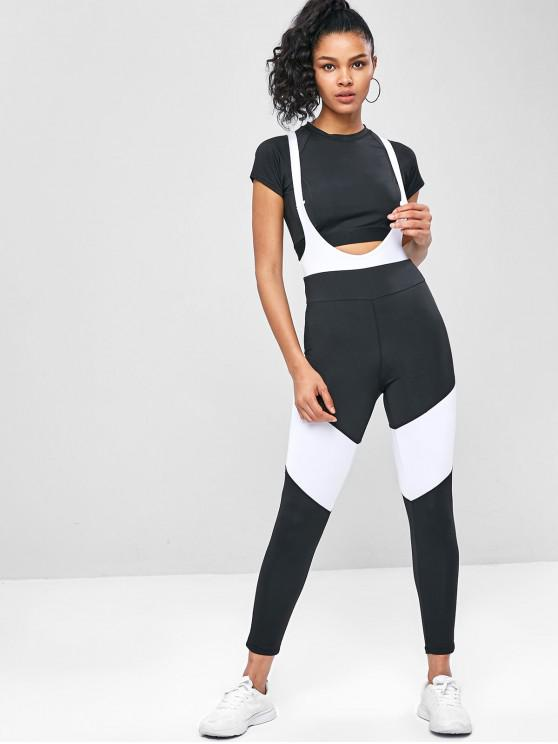 outfits Cross Two Tone Overall Workout Leggings - BLACK L
