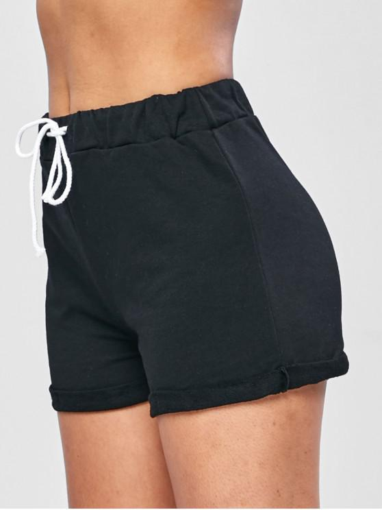 trendy Casual Drawstring Roll Hem Shorts - BLACK S