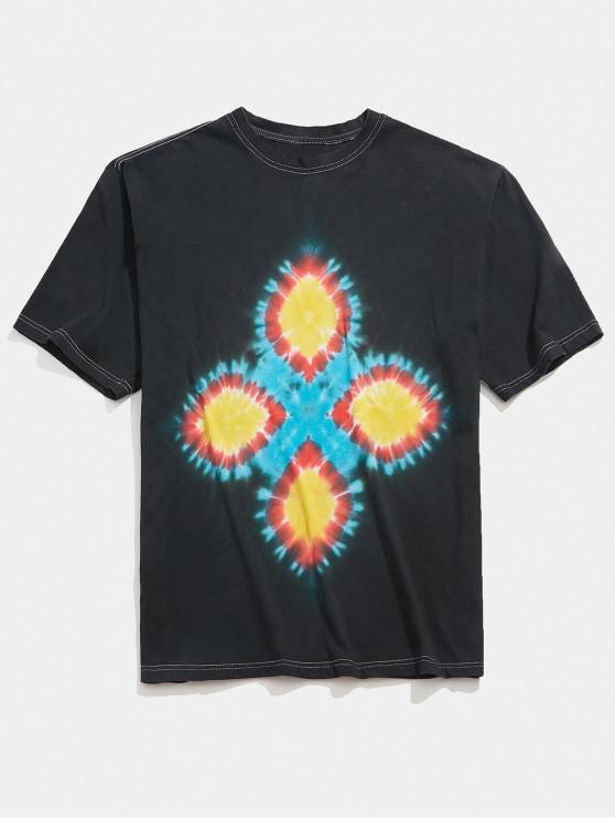 latest Tie Dye Flower Print Casual T-shirt - MULTI L