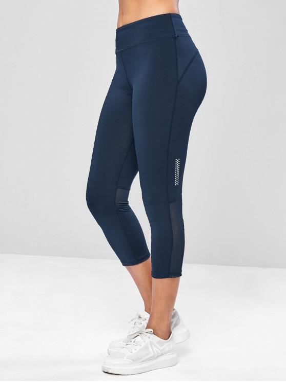 9f716335f1a8c 26% OFF] 2019 Mesh Panel Capri Yoga Gym Leggings In CADETBLUE ...