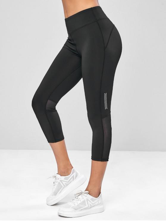 chic Mesh Panel Capri Yoga Gym Leggings - BLACK XL