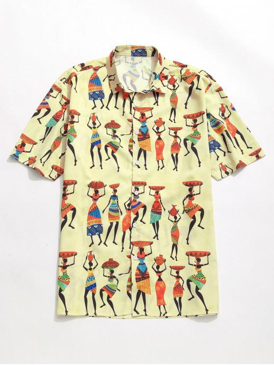 sale Cartoon Tribal Women Print Shirt - GOLDENROD M