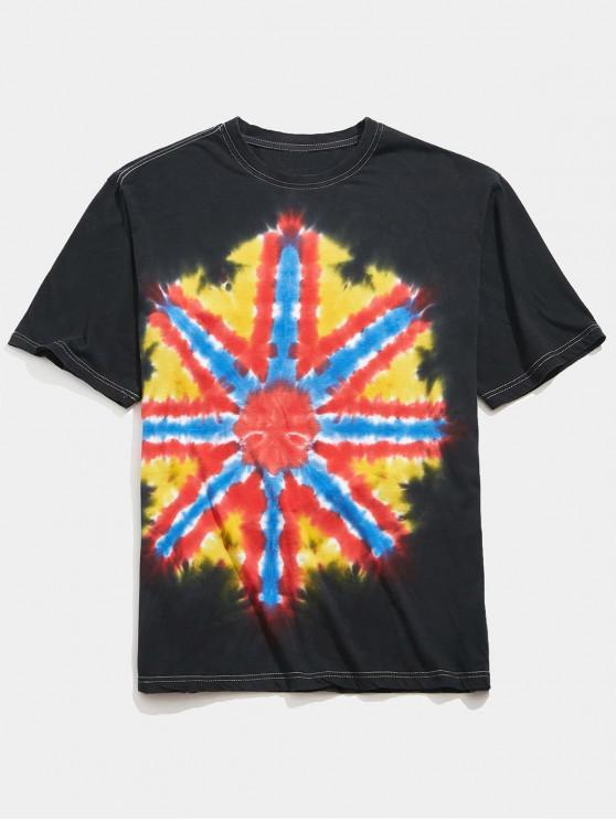 new Short Sleeves Tie Dye Print Casual T-shirt - MULTI S