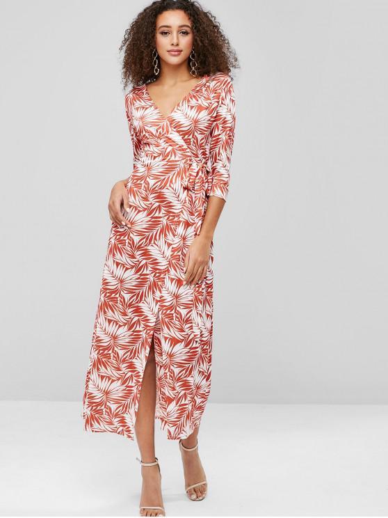 women's Leaf Print Slit Wrap Dress - PUMPKIN ORANGE L