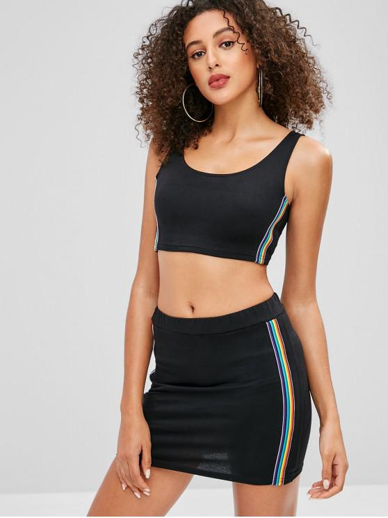 best Rainbow Stripe Top Mini Skirt Two Piece Set - BLACK XL