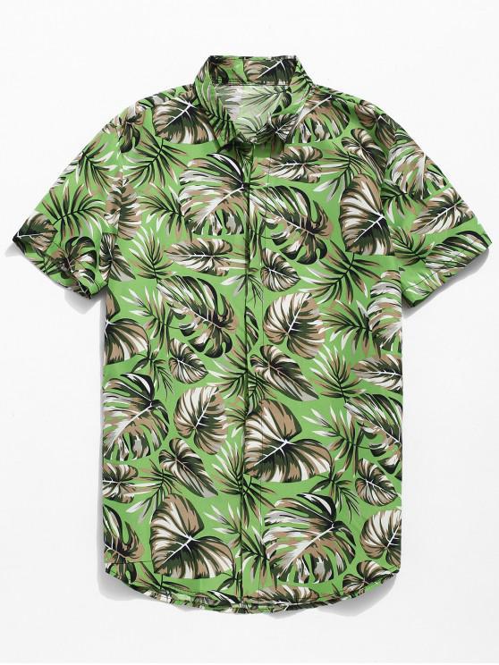 unique Tropical Leaf Print Shirt - SEA GREEN 2XL