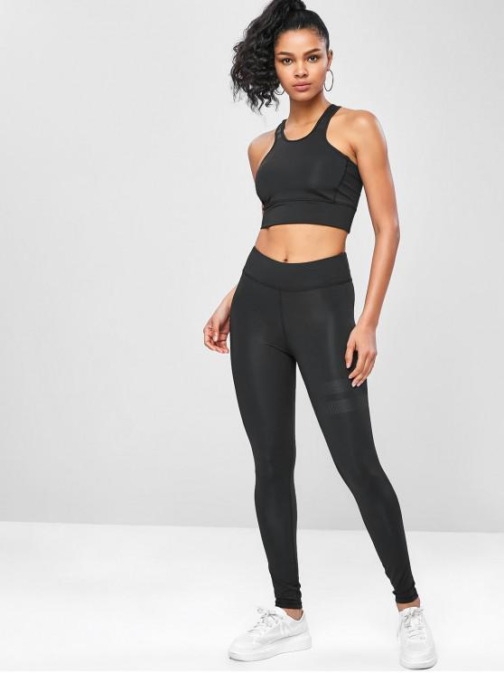 women's High Rise Racerback Yoga Gym Suits - BLACK M