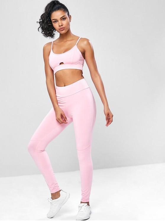 Ternos de ginástica Cami Yoga de cintura alta - Rosa L