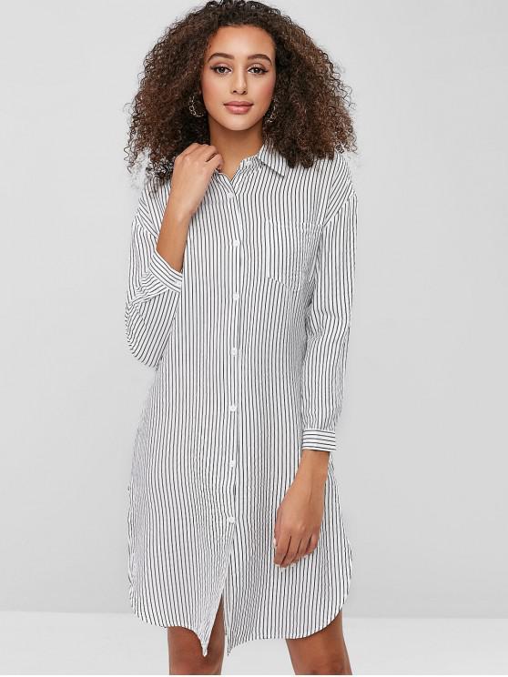 online Striped Chest Pocket Slit Shirt Dress - WHITE S